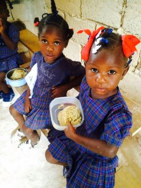 Girls at lunch, Ebenezer School